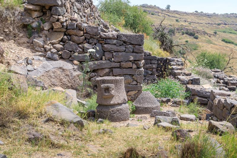 The ruins of the ancient Jewish city of Gamla on the Golan Heights. Destroyed by the armies of the Roman Empire in 67th year AD. The ruins of the ancient Jewish royalty free stock photos