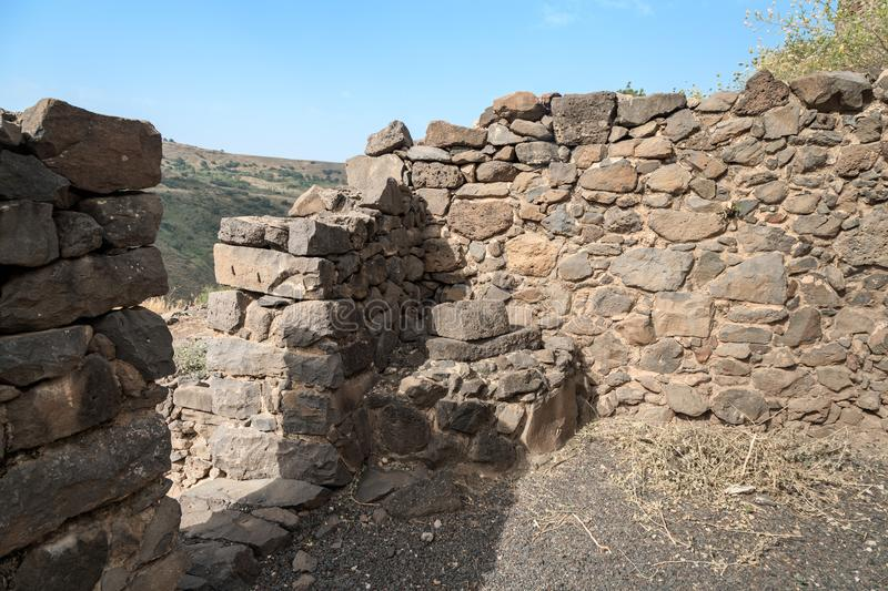 The ruins of the ancient Jewish city of Gamla on the Golan Heights destroyed by the armies of the Roman Empire. The ruins of the ancient Jewish city of Gamla on stock photo