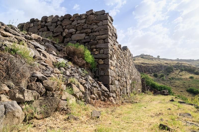 The ruins of the ancient Jewish city of Gamla on the Golan Heights destroyed by the armies of the Roman Empire. The ruins of the ancient Jewish city of Gamla on stock image