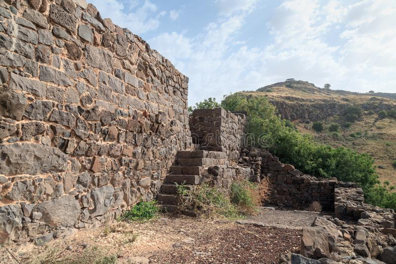 The ruins of the ancient Jewish city of Gamla on the Golan Heights destroyed by the armies of the Roman Empire. The ruins of the ancient Jewish city of Gamla on royalty free stock photography