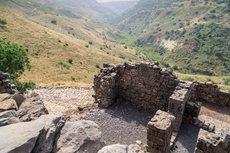 The ruins of the ancient Jewish city of Gamla on the Golan Heights destroyed by the armies of the Roman Empire. The ruins of the ancient Jewish city of Gamla on royalty free stock photo