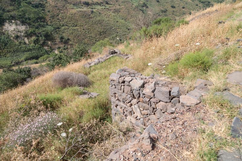 The ruins of the ancient Jewish city of Gamla on the Golan Heights destroyed by the armies of the Roman Empire. The ruins of the ancient Jewish city of Gamla on stock photography