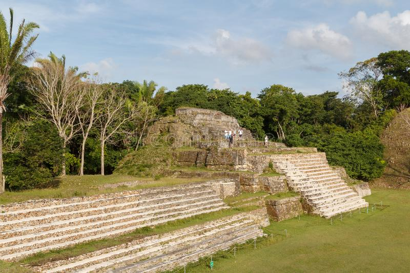 Ruins of the ancient Mayan city. ALTUN-HA / BELIZE - JANUARY 2015: Ruins of the ancient Mayan archaeological site Altun Ha, Belize royalty free stock images