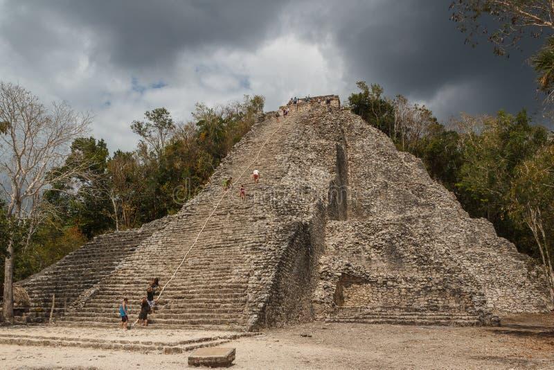 Ruins of the ancient Mayan city of Coba stock image
