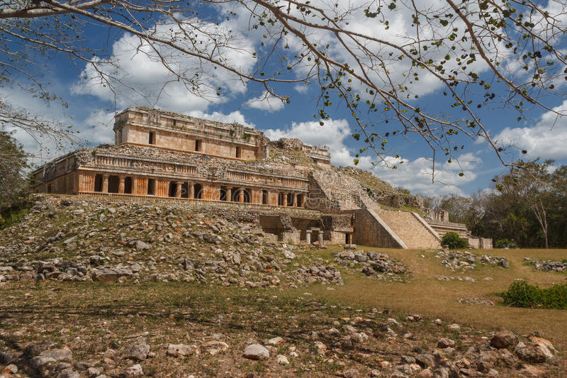 Ruins of the ancient Mayan city of Sayil royalty free stock photography
