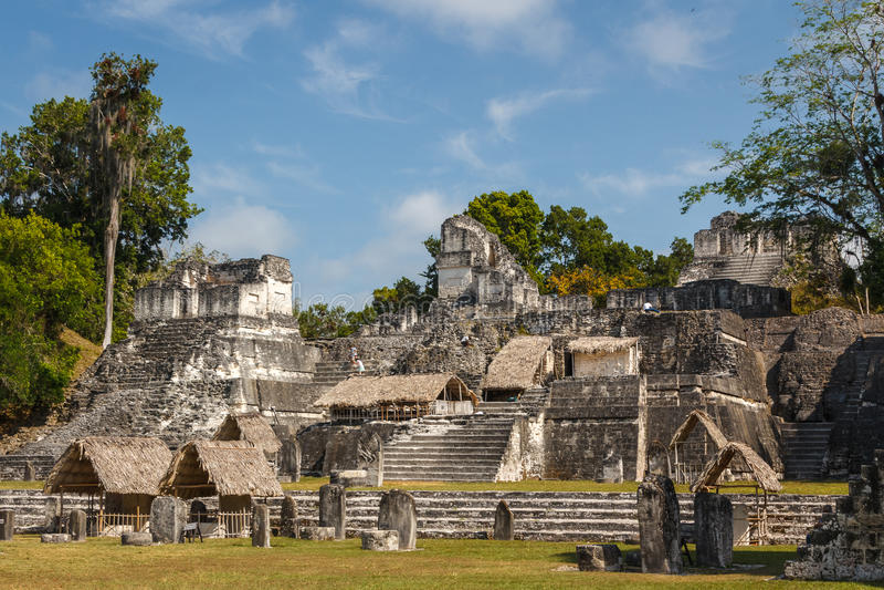 Ruins of the ancient Mayan city of Tikal royalty free stock photo