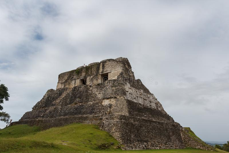 Ruins of the ancient Mayan town. XUNANTUNICH / BELIZE - JANUARY 2015: Ruins of the ancient Mayan city Xunantunich, Belize stock photo