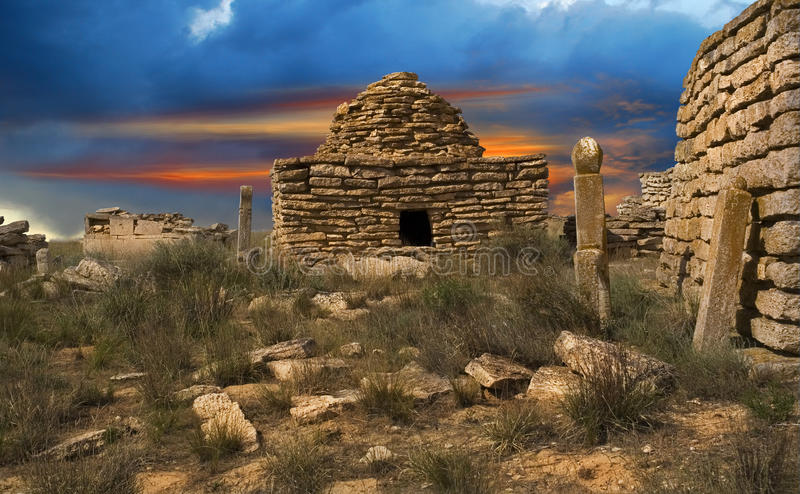 Ruins of the ancient Muslim cemetery stock images