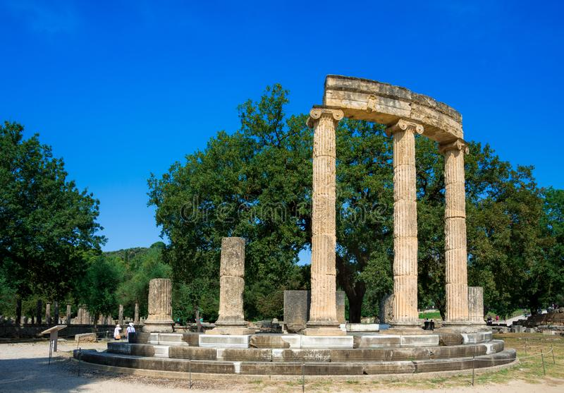 The ruins of ancient Olympia, Greece. Here takes place the touch of olympic flame stock photos