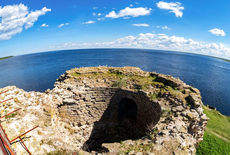 Ruins of the ancient Oreshek fortress. Fisheye view on the Ladoga lake from the wall of the medieval fortress in Shlisselburg, Russia royalty free stock images
