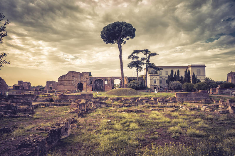 Ruins of the ancient palace on the Palatine Hill, Rome royalty free stock photos