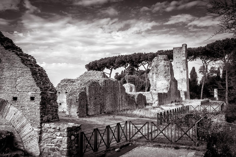 Ruins of the ancient palace on the Palatine Hill, Rome royalty free stock photography