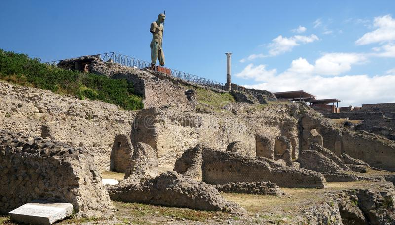 Ruins of Ancient Pompeii. Pompeii, an ancient Roman city near Naples was buried by volcanic ash and pumice in the eruption of Mount Vesuvius in AD 79 stock images