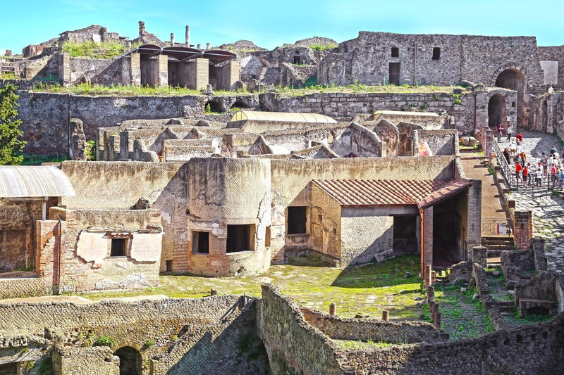 Ruins of Ancient Pompeii. Roman town destroyed by Vesuvius volcano in 79 AD royalty free stock photo