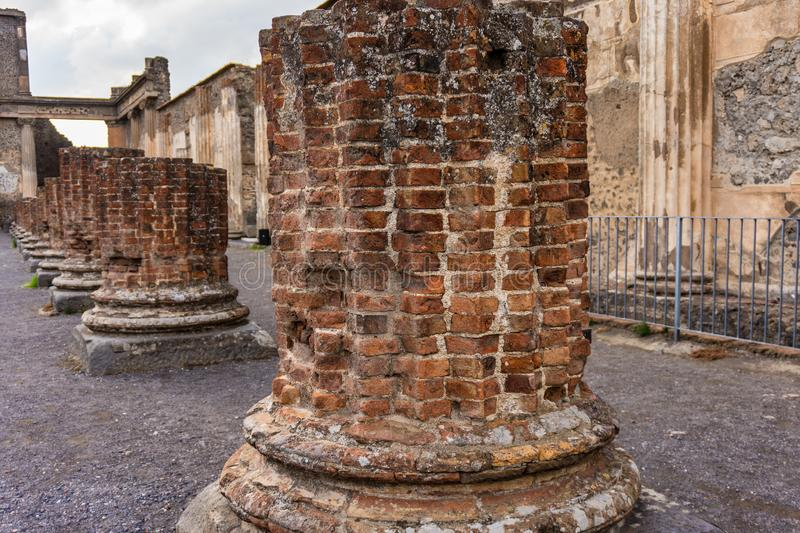 Ruins of Ancient Pompeii, Roman town destroyed by Vesuvius volcano. Italy, antique, architecture, campania, city, culture, heritage, history, italian, landmark royalty free stock photo