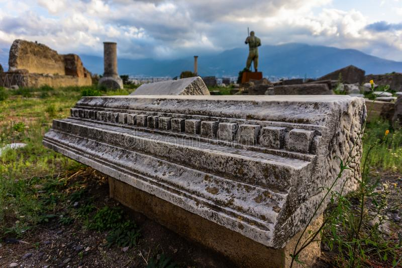 Ruins of Ancient Pompeii, Roman town destroyed by Vesuvius volcano. Italy, architecture, europe, old, sky, travel, antique, landmark, monument, stone, tourism stock photography