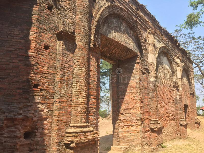 The Ruins of Ancient Portuguese Church at Syriam Myanmar. The catholic church have begun in 1749 royalty free stock image