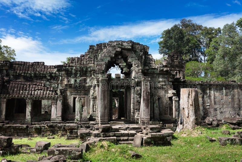 Ruins ancient Preah Khan temple, Cambodia. Ruins ancient Preah Khan temple in Angkor royalty free stock photos