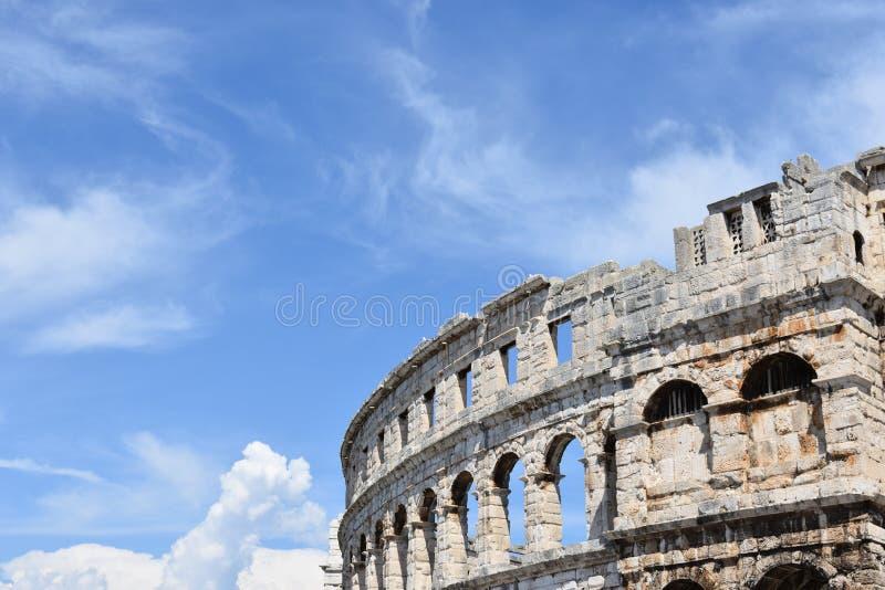 Ruins of Ancient Roman amphitheater in Pula, Istria region, Croatia stock image