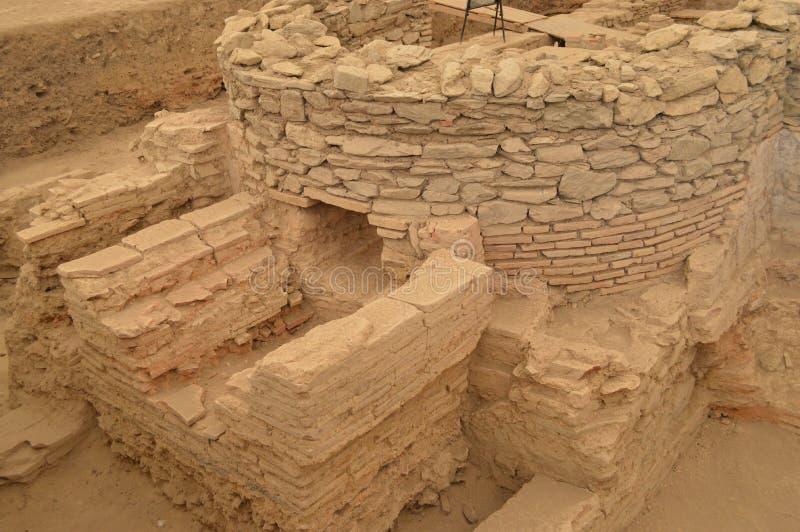 Ruins of the ancient Roman baths stock photos