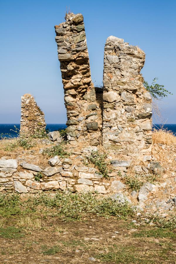 Ruins of the Ancient Roman City Anemurium in Anamur, Turkey royalty free stock images