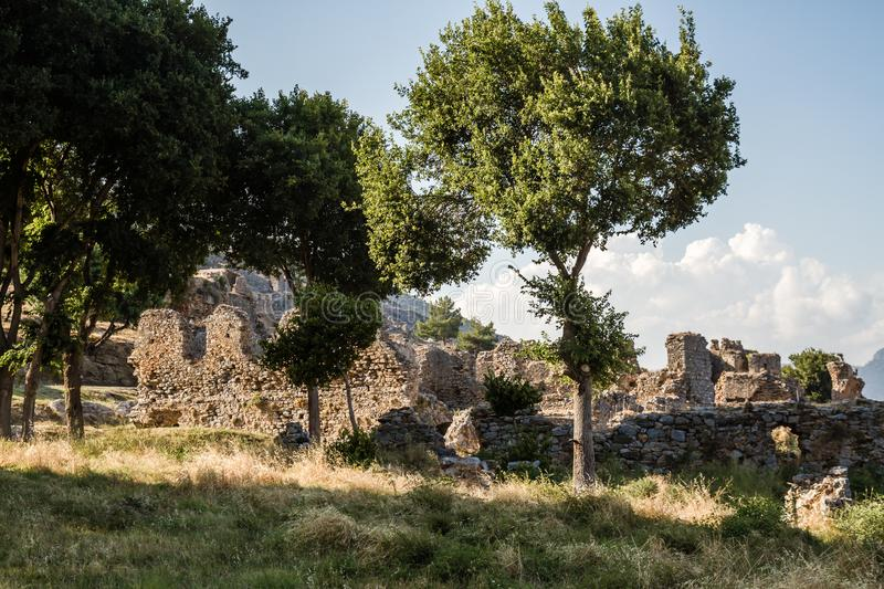 Ruins of the Ancient Roman City Anemurium in Anamur, Turkey royalty free stock photo