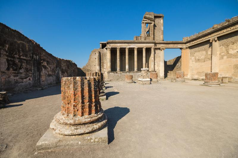 Ruins of the ancient roman city of Pompeii. royalty free stock photography