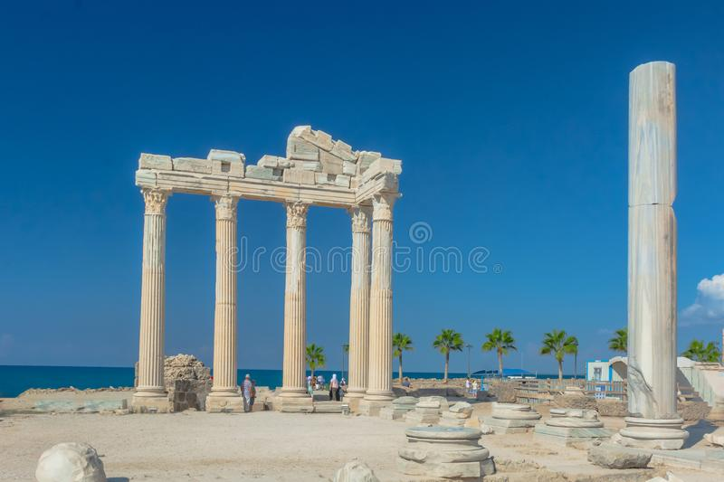 Ruins of the ancient Roman city of Side stock photos