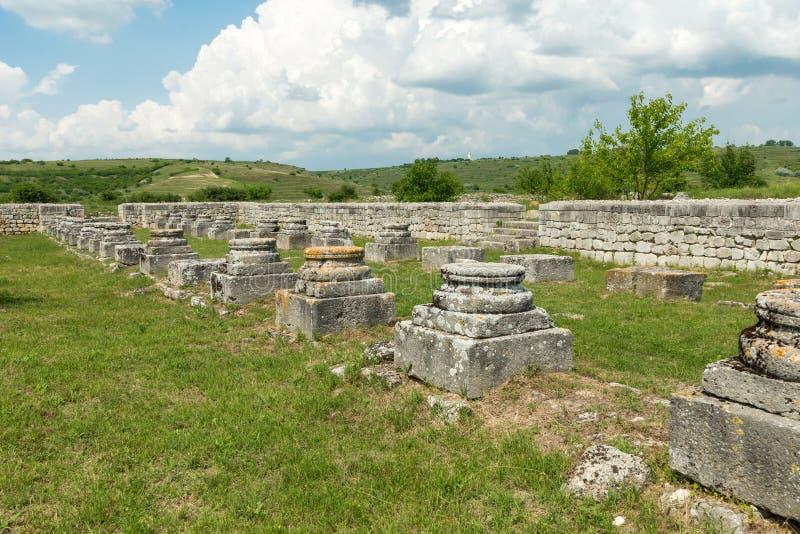 Adamclisi, Romania - June 10 2019: ruins of ancient roman fortification near Adamclisi town, Constanta county. Ruins of ancient roman fortification near stock image