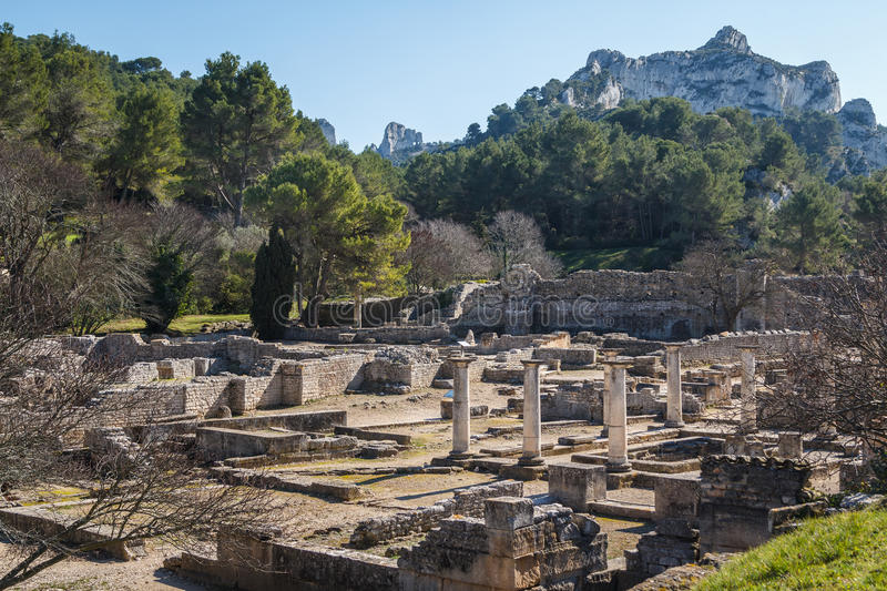 Ruins of the ancient Roman and Greek town Glanum royalty free stock image