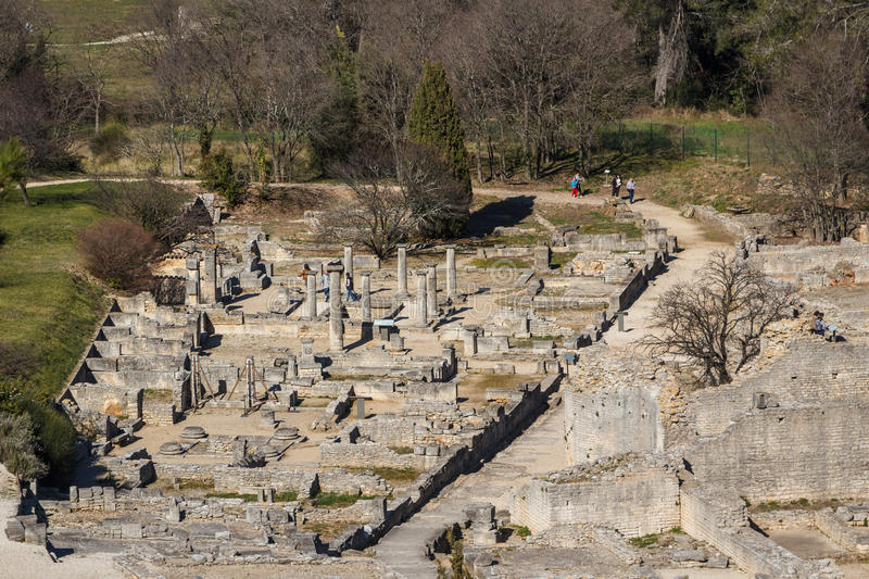 Ruins of the ancient Roman and Greek town Glanum stock images