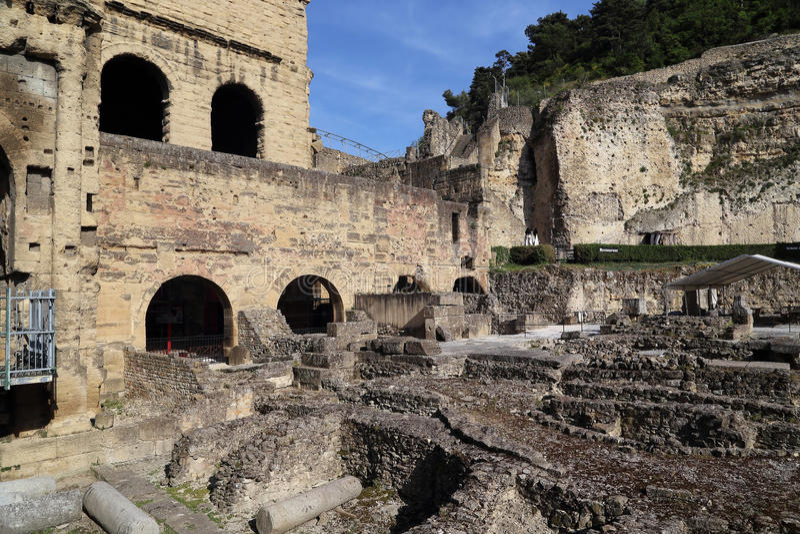 Ruins of ancient Roman stadium in Orange, France stock image