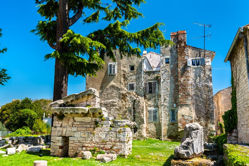 Roman ruins in Porec, Croatia. Ruins of ancient Roman temple in Porec, Croatia royalty free stock photo