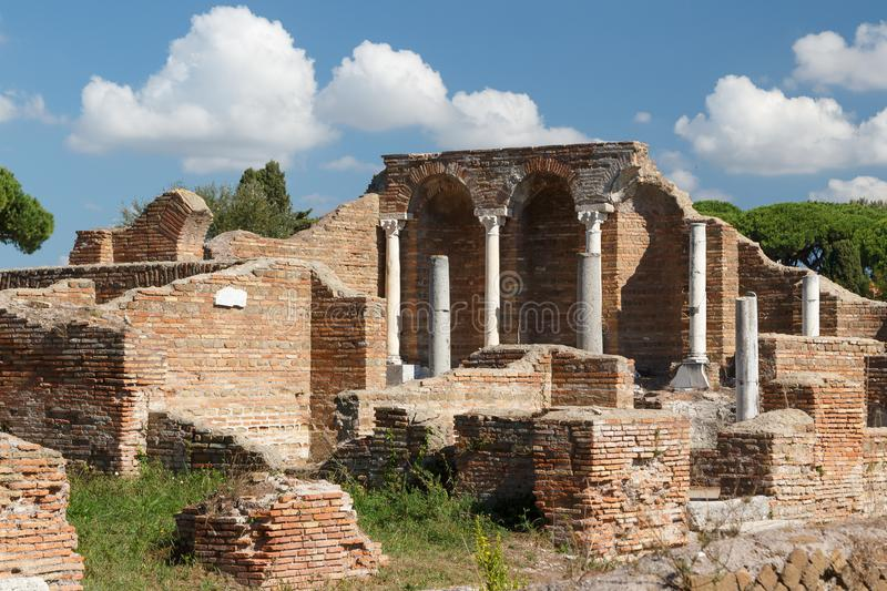 Ruins of the ancient Roman town Ostia Antica royalty free stock photos