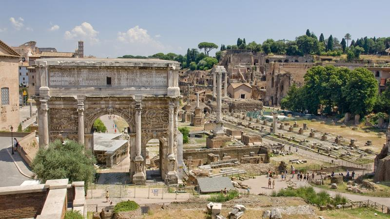 The ruins of ancient Rome reveal ancient splendor. Of civilization - Foro Romano stock photos