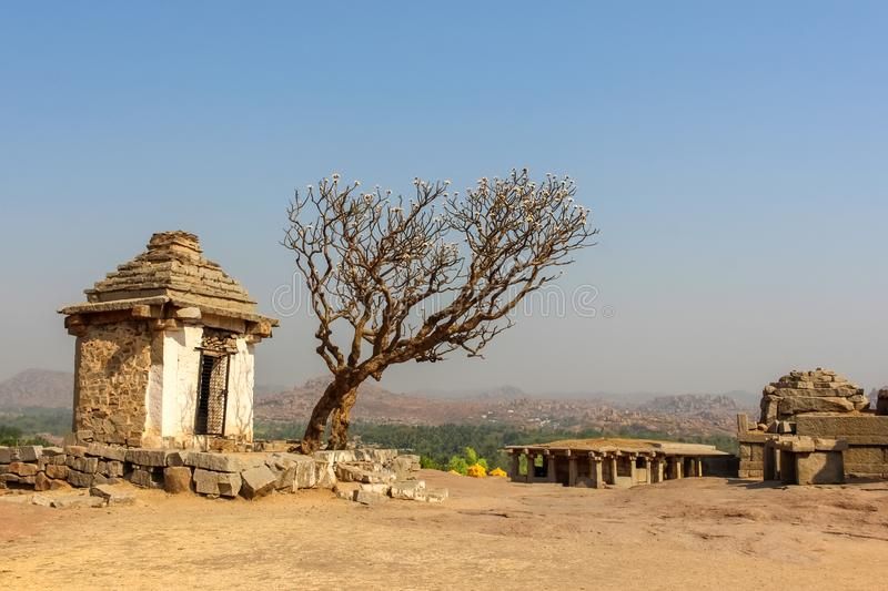 Ruins of ancient structure in Hampi royalty free stock photography