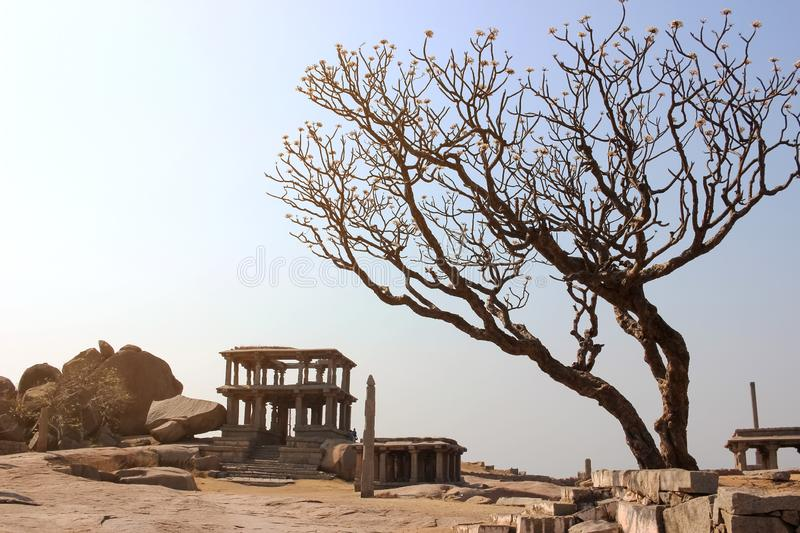 Ruins of ancient structure in Hampi stock images