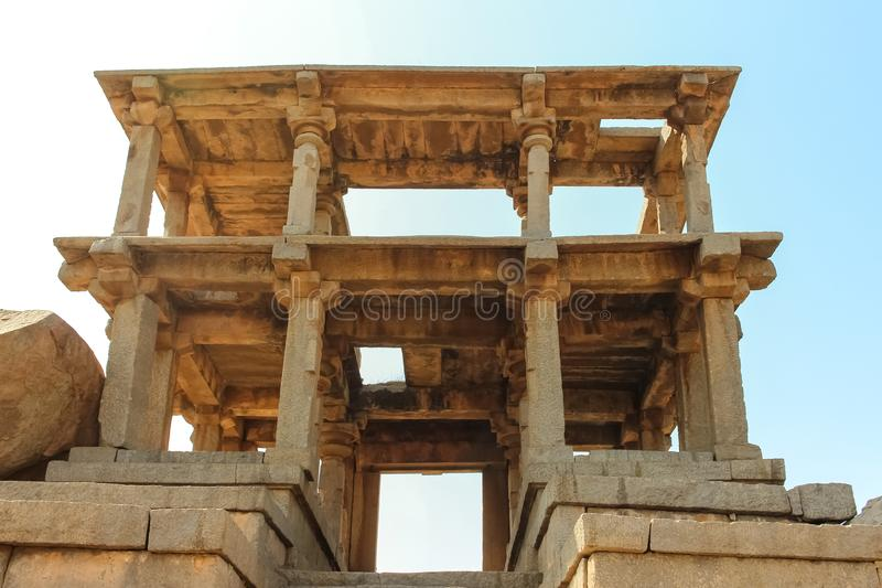Ruins of ancient structure in Hampi stock photos