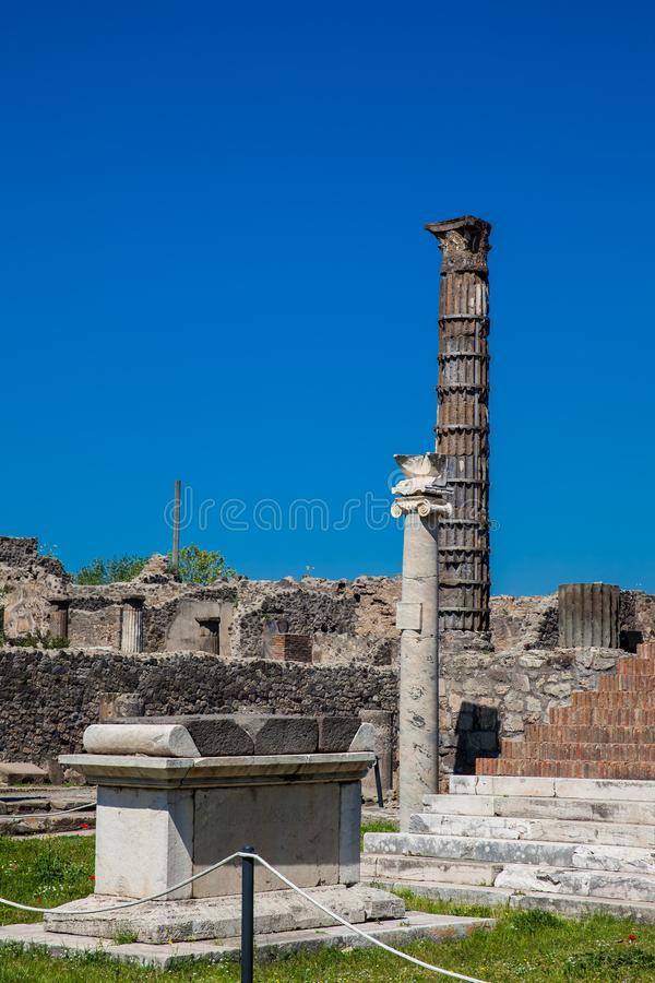 Ruins of the ancient Temple in Pompeii. The ruins of the ancient Temple in Pompeii royalty free stock photography