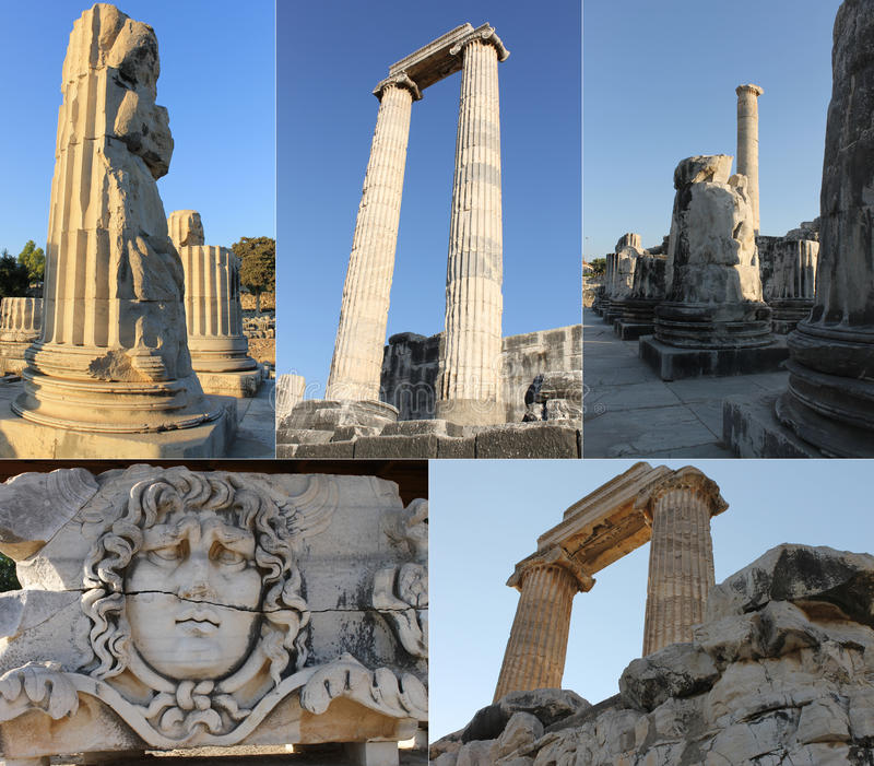 The ruins of an ancient temple of Apollo in Didim, Turkey royalty free stock images
