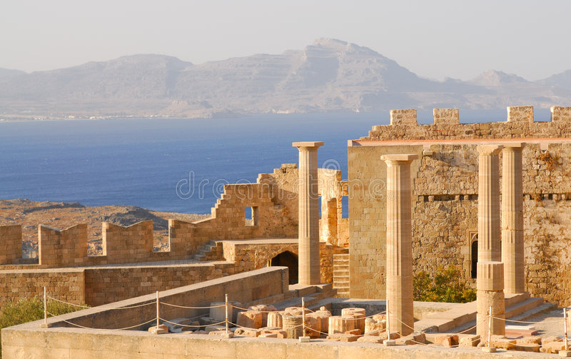Ruins of ancient temple. Greece. Ruins of ancient temple. Lindos. Rhodes island. Greece stock photo
