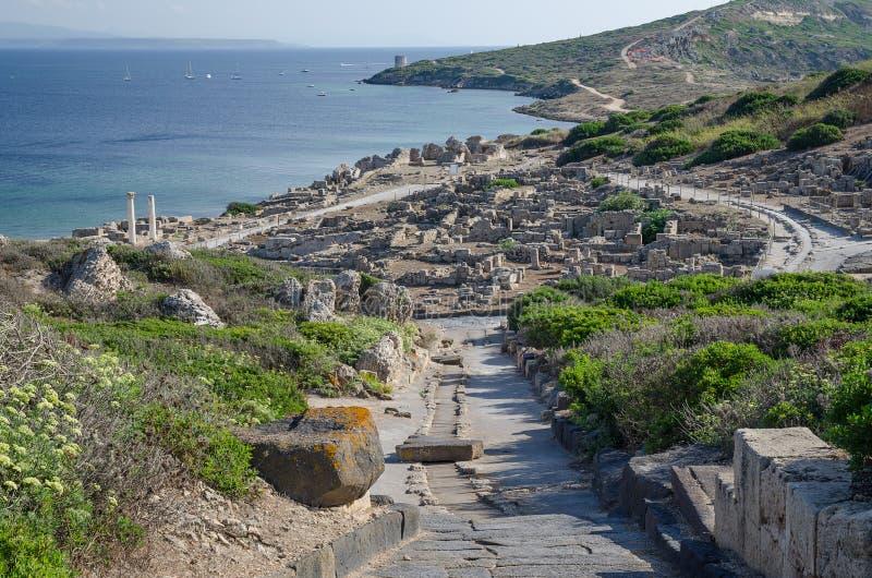 Ruins of ancient Tharros city, Sardinia. Picture of ancient city Tharros near St. Marco cape in Sardinia stock photos