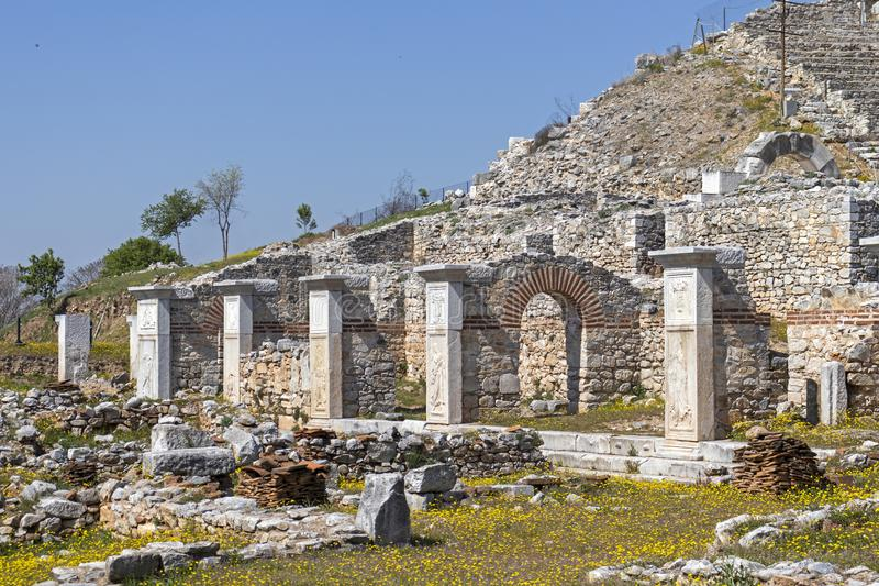 Ruins of The ancient theatre in the Antique area of Philippi, Eastern Macedonia and Thrace, Greece. View of ruins of The ancient theatre in the Antique area of stock images