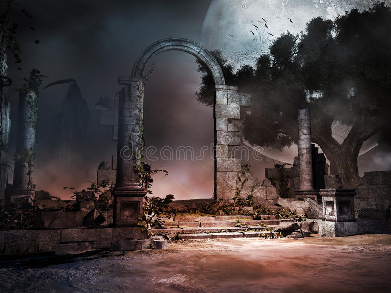 Ruins of ancient tomb. Night over ruins of ancient tomb vector illustration