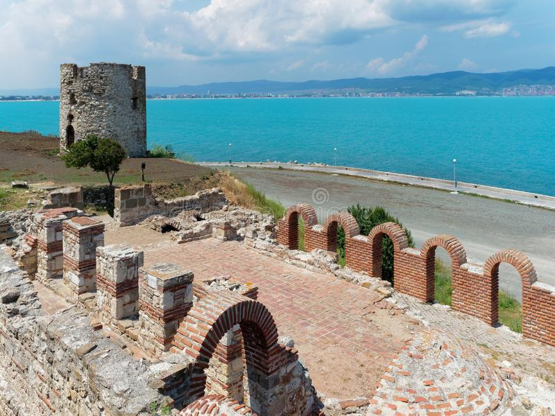 Ruins and ancient tower in Nessebar, Bulgaria royalty free stock photo