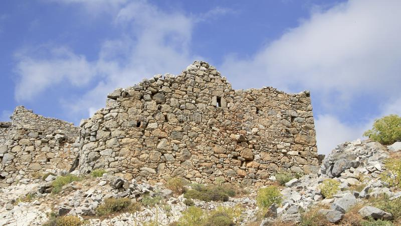 Ruins of ancient Venetian windmills built in 15th century, Lassithi Plateau, Crete, Greece. Most typical characteristic of the Plateau. In the past, they stock photos