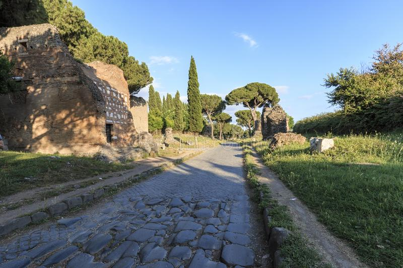 Ruins of the ancient Via Appia Appian Way in Rome.  royalty free stock photo