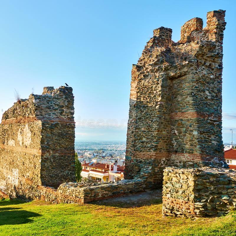 Ruins of ancient walls in Thessaloniki royalty free stock image
