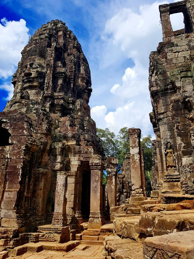Ruins of Angkor Wat, Hindu temple complex in SIEM REAP, CAMBODIA. Khmer architecture, well known as 7th Wonder of the World stock image