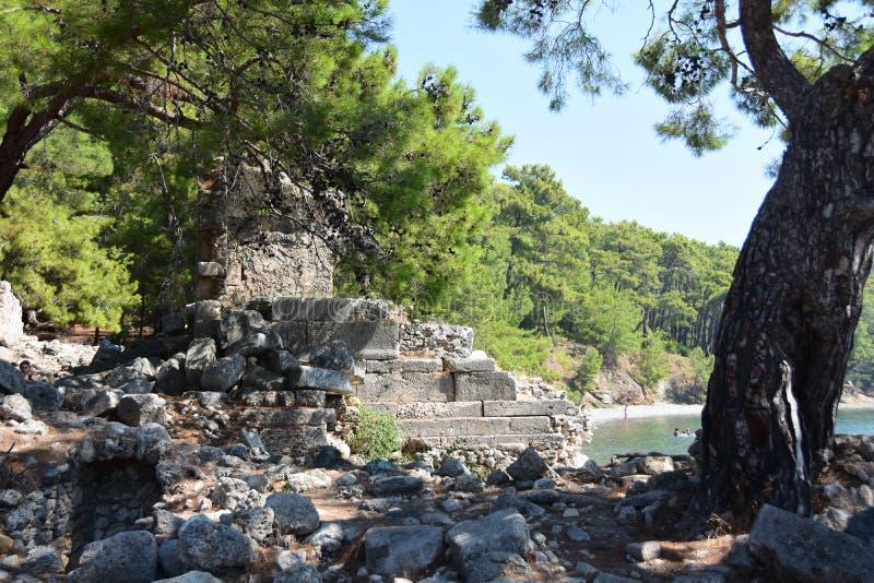 Ruins of antic port Phaselis, Turkey. Ruins of antic port Phaselis city-port in ancient Greece, Turkey, Anatolia stock photography